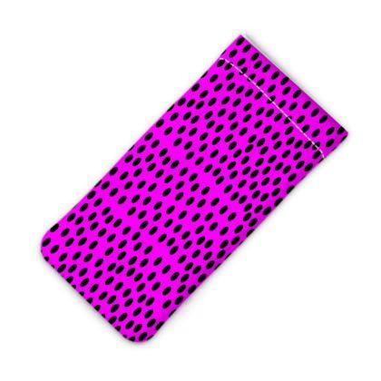 Black Polka Dot Design Cerise Pink iPod Slip Case