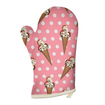Oven Gloves  with Ice-Scream Print in Pink