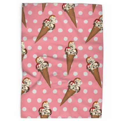 Tea Towel with Ice-Scream Print in Pink