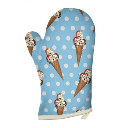 Oven Gloves with Ice-Scream Print in Blue