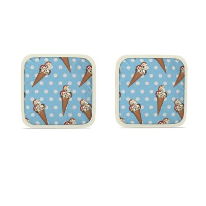 Hot Dish Pads with Ice-Scream Print in Blue