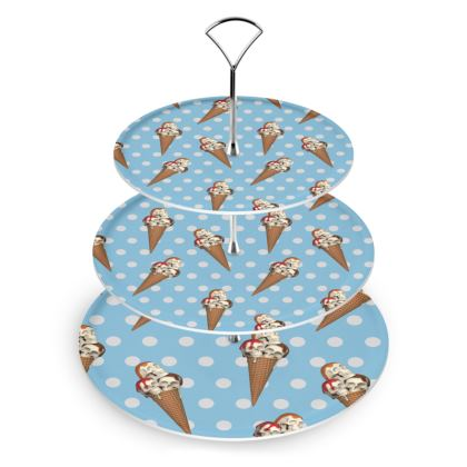Cake Stand with Ice-Scream Print in Blue