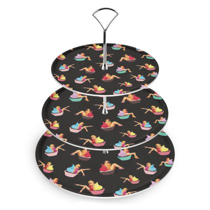Cake Stand with Pin-Up and Pastries Print in Black