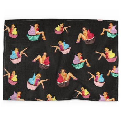Tea Towel with Pin-Up and Pastries Print in Black