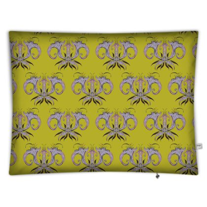 Lime Damask Rectangular Floor Cushion