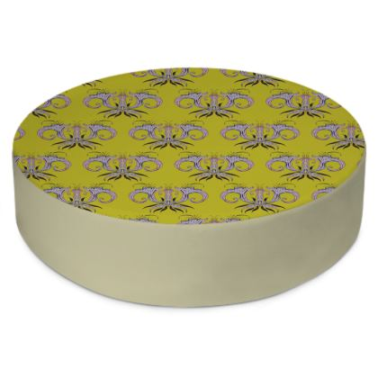 Lime Damask Round Floor Cushions
