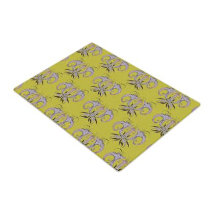 Lime Damask Glass Chopping Board