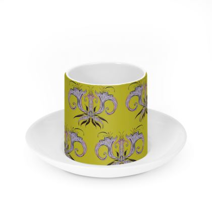 Lime Damask Cup & Saucer Set