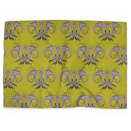 Lime Damask Tea Towel