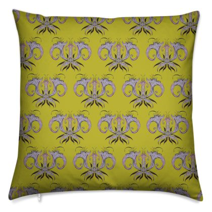 Lime Damask Cushion