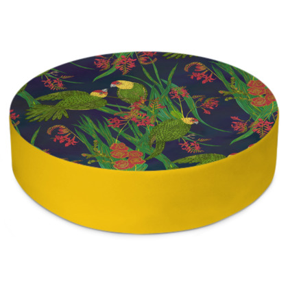 Parakeet Paradise Round Floor Cushion