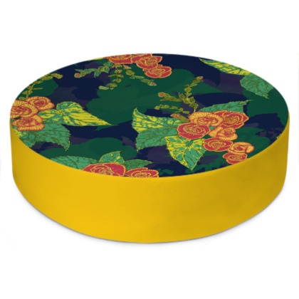 Tropical Floral Round Floor Cushion