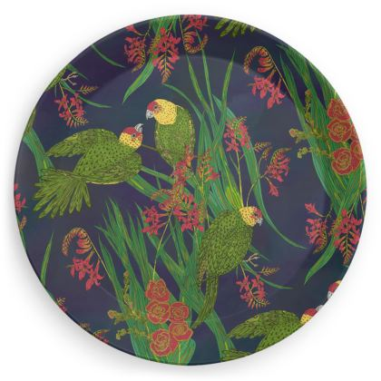 Floral Parakeet Party Plates Set