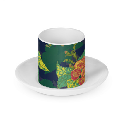 Tropical Floral Cup and Saucer