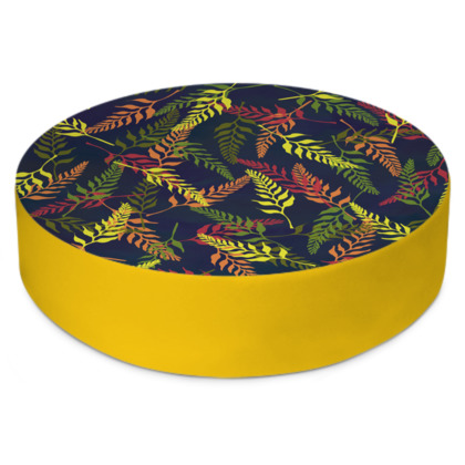 Tropical Foliage Round Floor Cushion