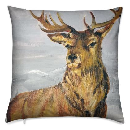 Stag in Winter Cushion by Alison Gargett