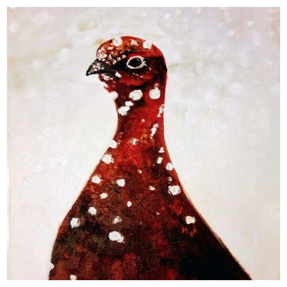 Grouse in Winter Cushion by Alison Gargett