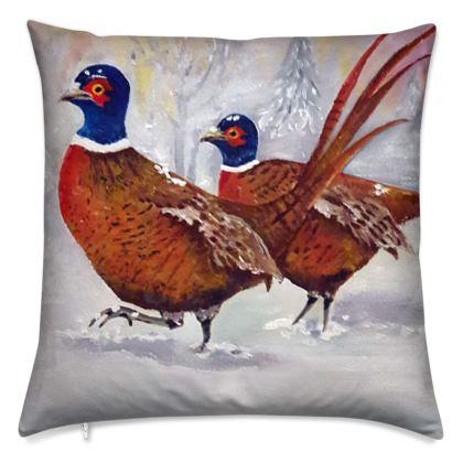 Two Pheasants in Winter Cushion by Alison Gargett
