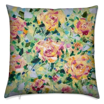 Yellow and Pink Roses Cushion by Alison Gargett