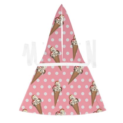 Debbie Wingham Exclusive Apron with Ice-Scream Print in Pink
