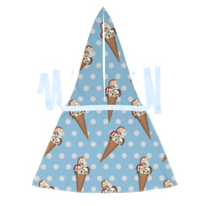 Debbie Wingham Exclusive Apron with Ice-Scream Print in Blue