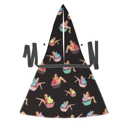 Debbie Wingham Exclusive Apron with Pin-Up and Pastries Print in Black