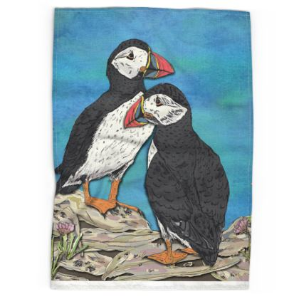 Puffins Tea Towel