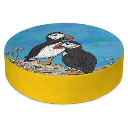 Puffins Round Floor Cushion