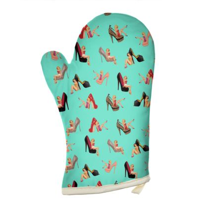 Oven Gloves with Well Heeled Print in Green