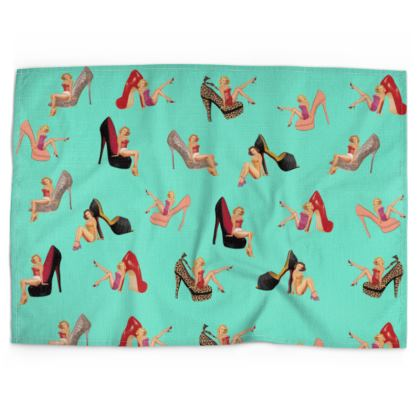 Tea Towel with Well Heeled Print in Green