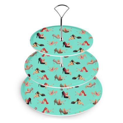 Cake Stand with Well Heeled Print in Green