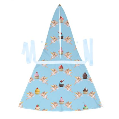 Debbie Wingham Exclusive Apron with Angel Cake Print in Blue