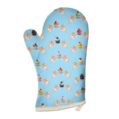 Oven Gloves with Angel Cake Print in Blue