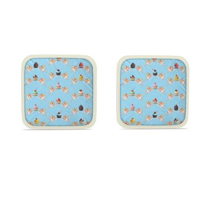 Hot Dish Pads with Angel Cake Print in Blue