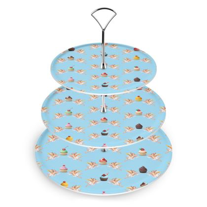 Cake Stand with Angel Cake Print in Blue