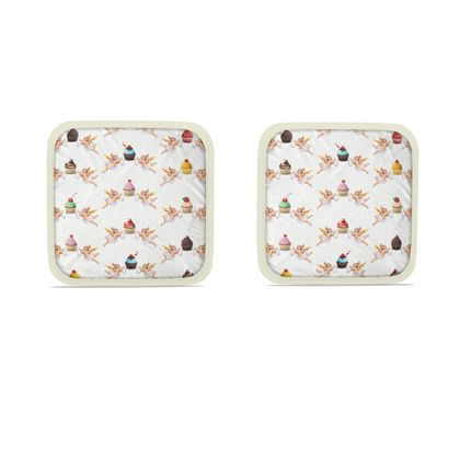 Hot Dish Pads with Angel Cake Print in White