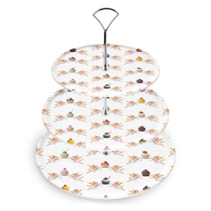 Cake Stand with Angel Cake Print in White