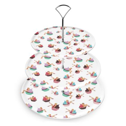 Cake Stand with Pin-Up and Pastries Print in White