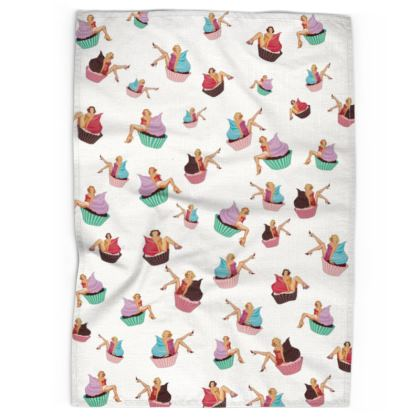 Tea Towel with Pin-Up and Pastries Print in White
