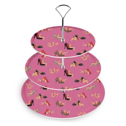 Cake Stand with Well Heeled Print in Pink
