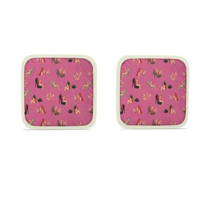Hot Dish Pads with Well Heeled Print in Pink