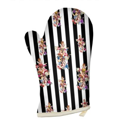 Oven Gloves with Cake Angels Monochrome Print