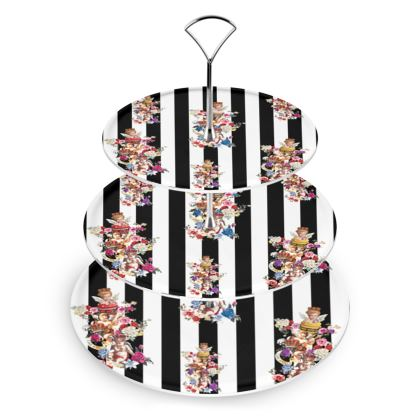 Cake Stand with Cake Angels Monochrome Print