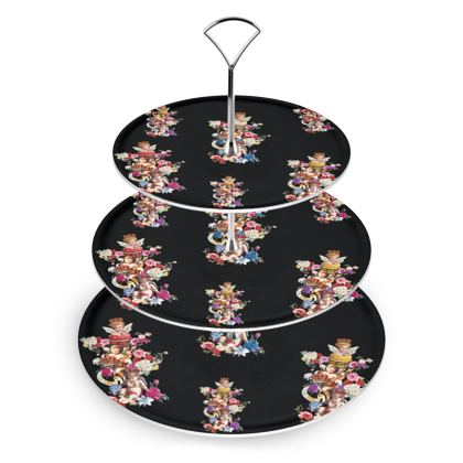 Cake Stand with Cake Angels Noir Print