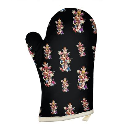 Oven Gloves with Cake Angels Noir Print