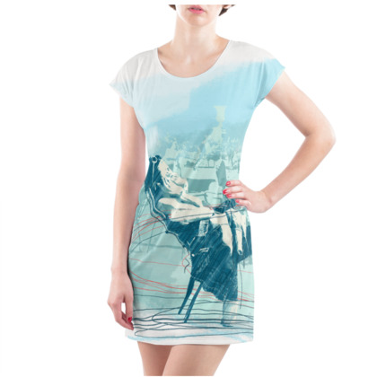 "Ladies Tunic T-Shirt - Woman's illustration in Turquoise - ""Dolce Far Niente"""