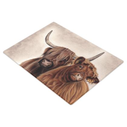 Heilan Coos Highland Cattle Glass Chopping Boards