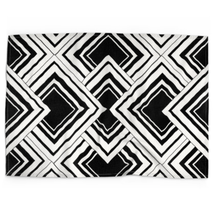 Art Deco Design Black And White Tea Towels