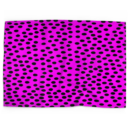 Black Polka Dot Design Cerise Pink Tea Towels