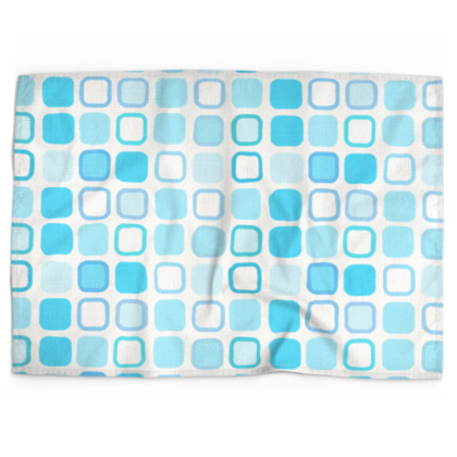 Retro Art Design Blue Tea Towels